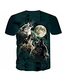 26ccbbdd7 Three Wolves Chasing The Moon Hombres Mangas Cortas Estampadas en 3D M-4XL