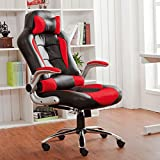 BTM New High Back PU Leather Executive Office Desk Task Computer Chair w/Metal Base Black/red