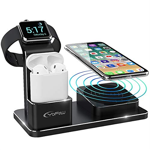 station, 3 in 1 Wireless Charger für iPhone XS Max/Xs/XR/X/8/8 Plus, 10W Qi Ladegerät Kompatibel mit Apple Watch Series 4 3 2 1 AirPods inkl 2 Kabel ()