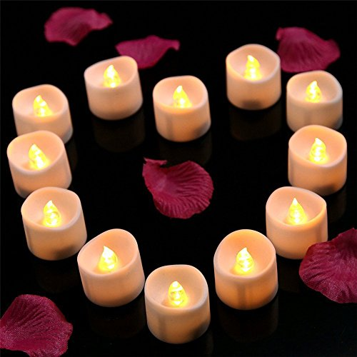 Phego LED Vela, Velas sin Llama Tealights, Vela Parpadeante Tealights para Fiestas, Bar, Boda, Navidad (12Packs, Parpadeo-Amarillo)