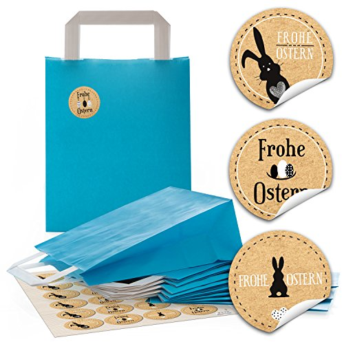 n Papier-Tragetaschen Henkel-Tüten, Geschenktüten (18 x 8 x 22 cm) und 24 runde Aufkleber 4 cm schwarz beige braun weiß Kraftpapier mit Frohe Ostern und Osterhase (Geschenk-taschen Schwarz)