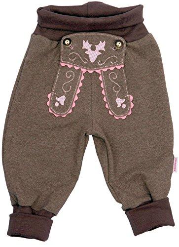 Bavariashop Baby Jogginghose im Lederhosen-Look, Rosa,, 100% Baumwolle, Zünftige Bayerische Geschenkidee, Mitbringsel, Erstausstattung Size 74