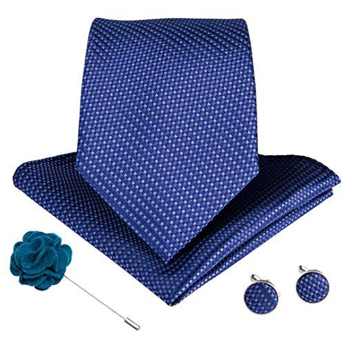 LINJIFE Hochzeit Krawatte Für Männer Rosa Blau Farbe Krawatten Manschettenknöpfe Brosche Set Hochzeit Groomsmen Krawatten Ldnx0091