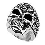 Piersando Herren Big Ring Edelstahl Biker mit Totenkopf Skull Helm Motiv Herrenring 28mm Breit Silber Größe 61 (19.4)