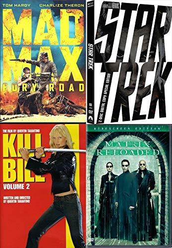 Crazy Town Sci Fi Action Mayhem: Mad Max Fury Road + Kill Bill Vol 2 + Matrix Reloaded + Star Trek (2 Disc Special Edition 2009) 4 Mega Hit Mega Madness DVD Bundle