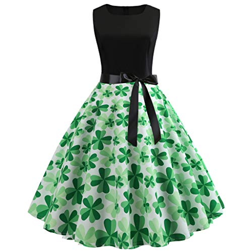 Damen Kleid St. Patrick\'s Day Frauen ärmelloses Kleeblatt Party Prom Swing Kleid A-Linie Kleid(A_ j,M)