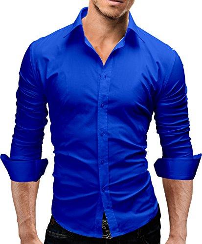 MERISH Elegantes Herren Hemd Langarm Kent Kragen Slim Fit Neu 440 (L, 440 Blau)