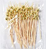 LMing Cocktail-Sticks 100 Zählt Hölzerne zahnstocher Partei liefert Rüschen Finger Essen Früchte Sandwich knabber - Gold Perlen