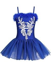 YiZYiF Fille Justaucorps de Danse Paillettés Robe de Ballet Leotard de  Ballet Costume de Cérémonie Tutu 073d998de1f