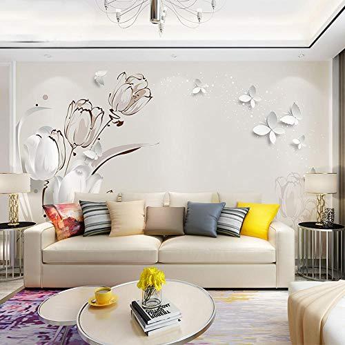8d TV background wall paper living room bedroom simple modern tulip wallpaper 3d stereo European wall mural@8D crystal silk crepe [full sheet]_Wallpaper + special glue Modern Crepe