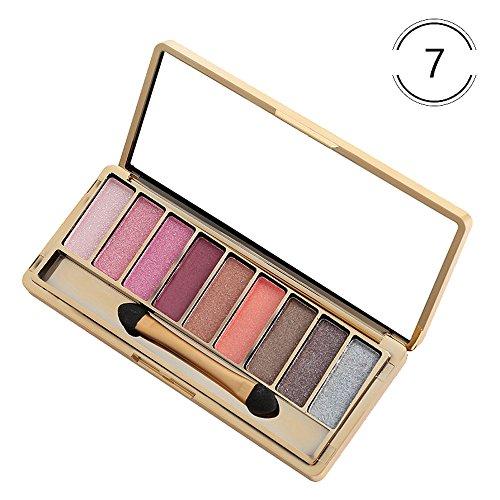 Kimdera 9 Farben Schimmer Lidschatten Palette langanhaltende Lidschatten Kosmetik Set + Pinsel (B)