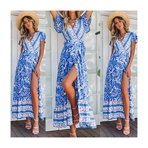 Boho Floral Paisley Mini Print Dress Ladies Holiday Beach Style 5-Blue S UK 6 8 ()