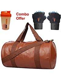 SKYSONS Gym Bag Combo Set Enclosed With Soft Leather Gym Bag For Men And Women For Fitness - Bag Size 49cm X 24cm... - B07DXPV4LC