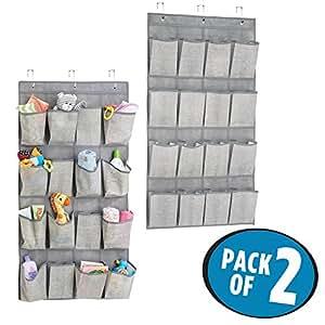 mDesign Portaoggetti da Appendere con 16 Tasche (Pacco Doppio) – Pratico Portaoggetti in Stoffa per Asciugamani, Pannolini, ecc. – colore: grigio
