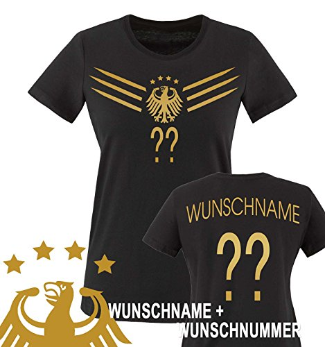 Comedy Shirts - WM 2014 - DEUTSCHLAND - DELUXE F1-VH-Wunsch - Damen T-Shirt - Schwarz / Gold Gr. S