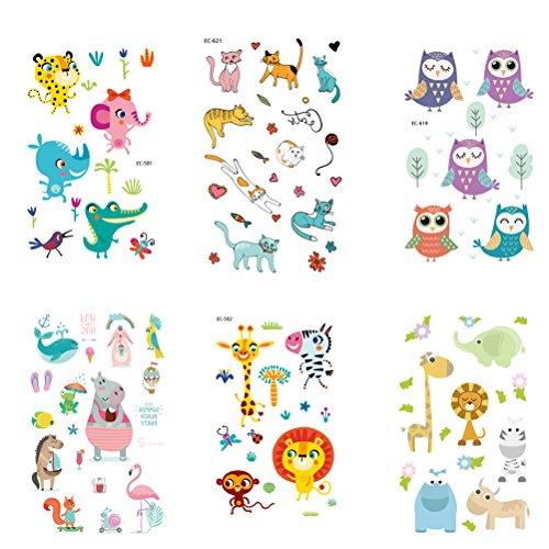 Stobok 6 fogli adesivi per bambini tatuaggi festa per feste adesivi temporanei per tatuaggi simpatici animali adesivi con motivi per la decorazione