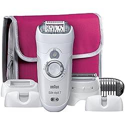 Braun Silk-épil 7 7-561 - Depiladora eléctrica y máquina de depilar, edición regalo, en seco y mojado, sin cable, con 6 accesorios y estuche de viaje
