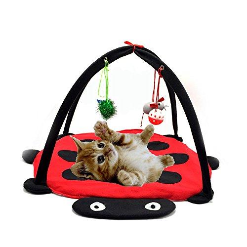 Tofern Katzenbett Katzenzelt Katzenkissen Tierbett Katzenspielzeug faltbar waschbar, Rot (Lustig Kitty Spiele Paar)