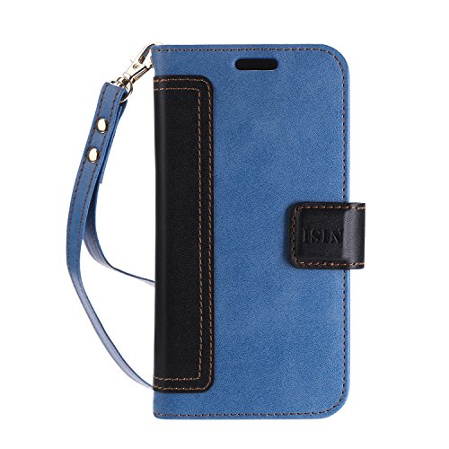 iPhone X Custodia,iPhone X Cover, ISIN Custodia Cellulare Serie Premium Pelle PU Stand Case Cover per Apple iPhone X 2017 Smartphone (Blu+Nero) Azzurro/Blu
