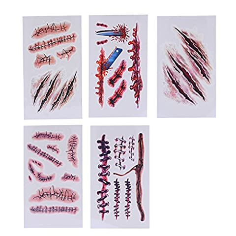 Décors Et Costumes Dhalloween - Ckeyin ®10Pcs Halloween Fausse Plaie Zombie Scars