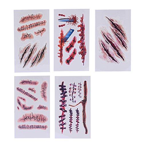 Ckeyin ®10pcs Zombie blutigen Narben und Stiche Kostüm Tattoos Makeup Aufkleber für Party Diba, senden Teams, Halloween