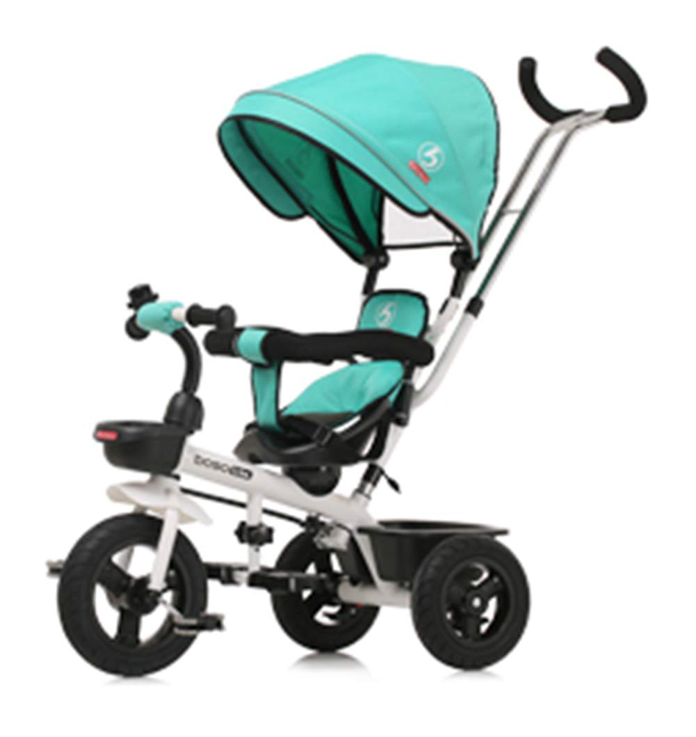 Children's Tricycle, Double-Sided Seat Stroller Adjustable Sun Visor Enlarged Storage Box Folding Pedal 3 to 6 Years Old Baby Indoor YYY ✅ 4-in-1 multi-function: two-way steering seat with push button unit. Push-pull, personalized putter multi-range adjustment putter to meet children of different heights, as the child grows, the tricycle can be adjusted to the fourth level. ✅ Durable material: This thrust tricycle is made of gem steel + environmentally friendly titanium empty wheel, with excellent strength, light resistance and anti-flaking adjustable awning. The tarpaulin material has a waterproof layer that blocks harmful ultraviolet rays, has a good sunscreen effect, and has mesh ventilation. ✅Safe design: The front wheel clutch has a two-stroke system. The steering linkage and quiet design effectively control the noise problems that may occur during implementation. Seat belt and guardrail and guardrail with double fixing pad 1