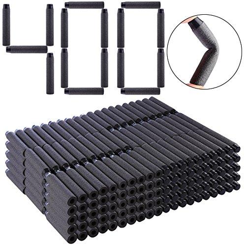 HYZH 400 Stück Foam Pfeile Patronen Darts Für Nerf N-Strike Elite Series Blasters Retaliator Schwarz