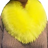 Fenverk Frau Schal Mode Kunstpelz Nachahmung Gras Schals Leopard Drucken Zum Damen TüCher Wraps Im Geschenke Ihr Mama Warm(Gelb)