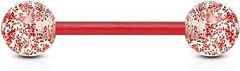 Paula & Fritz® Kultpiercing - Piercing per lingua, in plastica Bioflex e acrilico, 16 mm, spessore barretta: 1,6 mm, vari colori