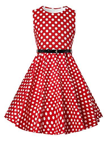 Funnycokid Maedchen Audrey 1950er Vintage Baumwolle Kleid Hepburn Stil Kleid Blumen Kleid Tupfen Kleid