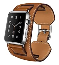 L'Apple Watch Bracelet, SUNDAREE®Montre Bracelet en Cuir Veritable Remplacement Bande en Mode Boucle avec Fermoir en Métal Ajustable pour l'Apple Watch Montre Tous les Modèles (brun-42mm)