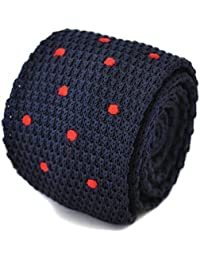 Frederick Thomas knitted navy and red spotted tie