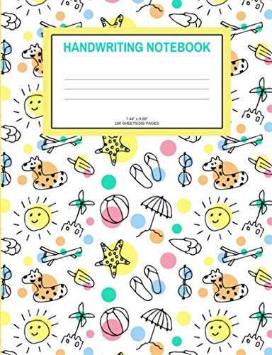Handwriting Notebook: Summer; 100 sheets/200 pages; 7.44