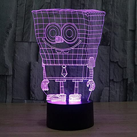 Colorful 3D SpongeBob lights LED stereo lights a gradient colorful creative acrylic lamp night light