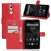 Doogee F5 Funda para Doogee F5 Cover, Vikoo Flip Cover Tapa de Cuero de La PU Case de la Cartera con Ranuras para Tarjetas Incorporadas para Doogee F5 Smartphone Case - Rojo