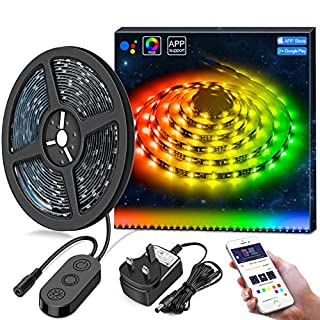 DreamColour LED Strip Lights, MINGER 3M LED Lights with APP Sync to Music Built IC Waterproof RGB Rope Light, 5050 Flexible Strip Lighting, LED Tape Lights, Led Strip Lights Kit [Energy Class A+]
