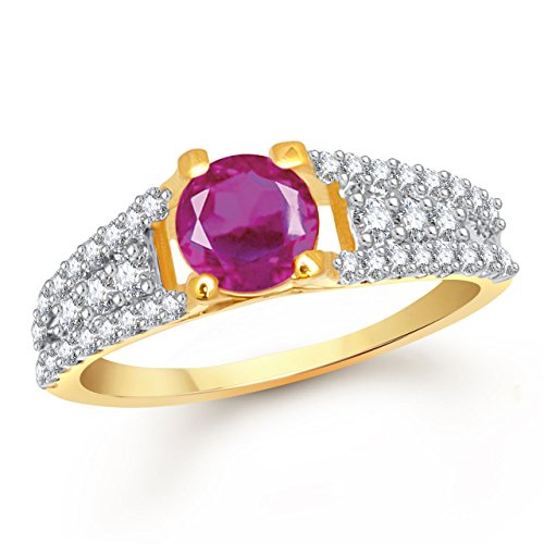 Meenaz Ruby 24K Ring South Indian Traditional Gold Ring For Girls & Women In American Diamond Cubic Zirconia Ring FR404  available at amazon for Rs.196