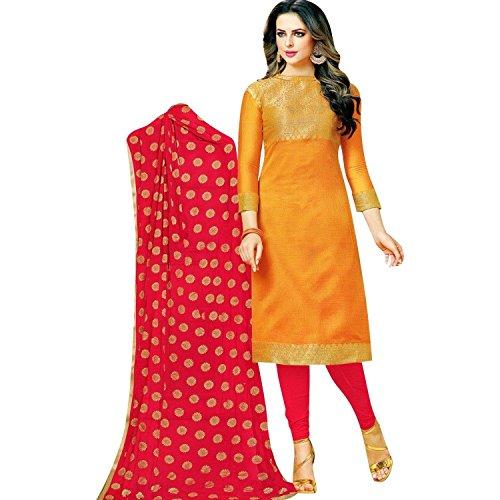 Lady Line Women's Silk Dress Material (K-Ethnic-16007_Mustard_Free Size)