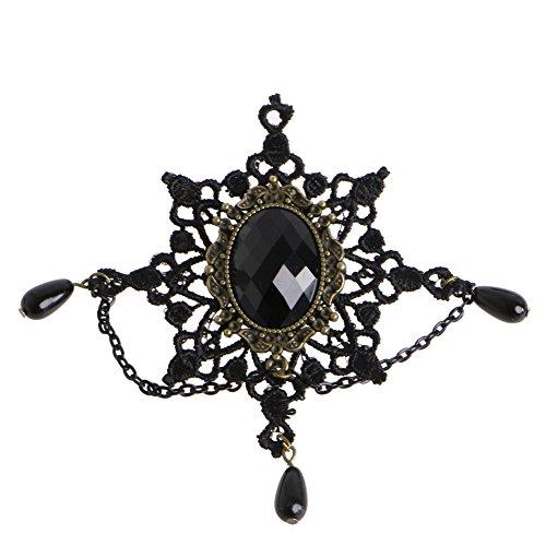 Dabixx Encaje Negro Copo de Nieve aleación de Piedra Broche de Nieve Pin Breastpin gótico Dama Accesorios