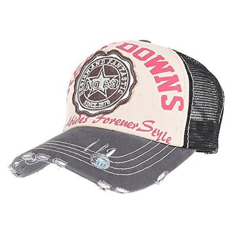 WITHMOONS Casquette de Baseball Meshed Baseball Cap Distressed Trucker Hat Star DW1379 (Black)