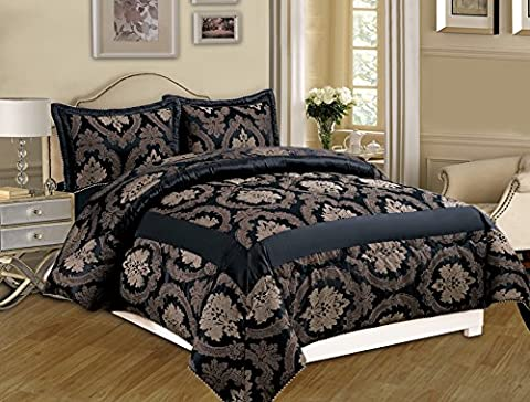 3 Piece Jacquard Quilted Bedspread Comforter, Pillow Shams,Luxury Bed Set+ Free P & P (Betty Black, King)