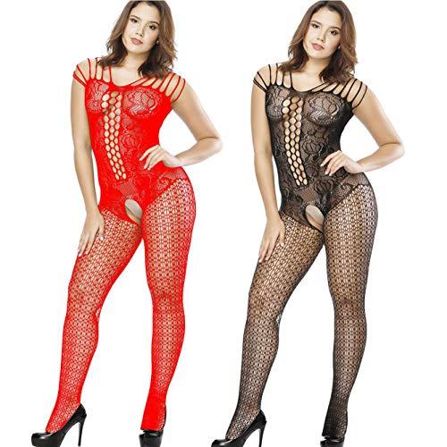 LOVELYBOBO 2 Pack Damen Unterwäschen Bodystockings Reizwäsche Netz Strumpfhose Hohle Blumen Jumpsuit Frauen Bodysuit Nachtwäsche Dessous Übergröße (Schwarz+Rot)