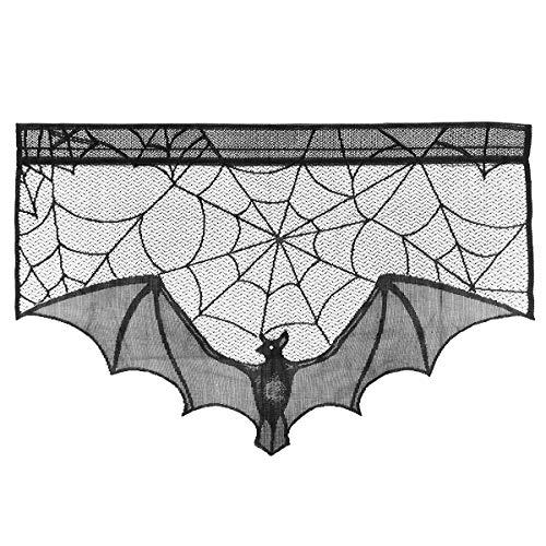 (Amosfun Halloween Gruselige Tuch Dekoration Black Bat Lace Spiderweb Kamin Mantel Schal Cover Spiderweb Dekoration Halloween Geschenke für Freunde)