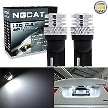 ngcat 1800lúmenes 4SMD 3020CREE T101682825bombillas LED para automóvil interior exterior de luces luz de lectura de cúpula de cuña lateral Bombillas de la matrícula Luces, DC 10–16V Xenon blanco (Pack de 2)
