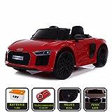 Voiture de sport électrique 12V pour enfant Audi R8 Spyder Cristom -Télécommande 2.4Ghz- Slot USB et prise MP3 - Licence Audi (rouge)