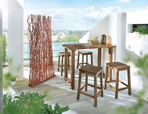 Kasandria® Gartenmöbel-Set Rustiko 5-tlg.   Barset-Outdoor   Hocker und Tisch   Akazienholz