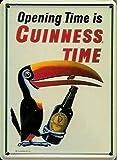 Tama � o peque � de dibujo de tucán con GUINNESS irlandés de Metal botella de la cerveza GUINNESS con texto en inglés