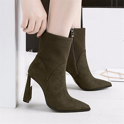 FLYRCX Stile Europeo tacco pesante caldo caldo scarponi per autunno e inverno ladies' alta con tacco Scarpe di partito D