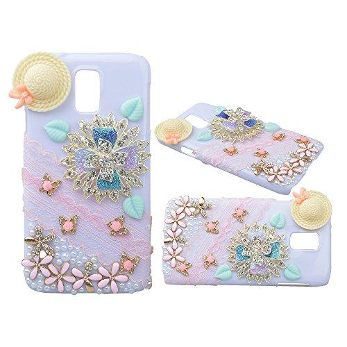 EVTECH (TM) para Samsung Galaxy S6 Edge Rhinestone del cordón de las flores de diamante de lujo de Bling mariposa de la perla del estuche rígido cubierta de la caja blanca (100% Artesanal)