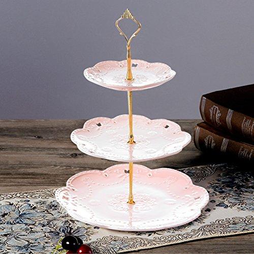 Etagere, Malacasa, Serie Sweet.Time, 6/8/10,5 Zoll Dessert Display, Cupcake Ständer, Porzellan 3-stöckig Törtchen Gebäck Muffin Obst Halter für Party, Geburtstag, Hochzeit, Weihnachten (Pink)